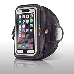 Gear Beast GearWallet LRG Sports Armband Case Pouch for Apple iPhone 6 (4.7 Inch) & Samsung Galaxy S6 Edge / S6 & More - Compatible with Otterbox or Ruggedized Cases - Space for 4 Card Slots, Cash, Keys, Earbuds, Etc (Black)