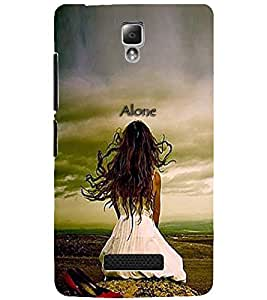 PrintDhaba LONELY GIRL D-7070 Back Case Cover for LENOVO A2010 (Multi-Coloured)