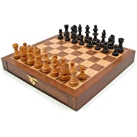 Elegant Inlaid Wood Cabinet with Staunton Wood Chessmen (Walnut Brown)
