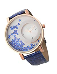 Felizo Leather Strap Analogue Womens Round Dial Watch With Moving Beads - Blue