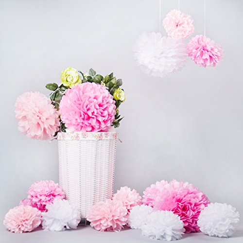 bliqniq 15 diy pompom pompons papierblumen dekoration f r hochzeit gebutztag baby shower. Black Bedroom Furniture Sets. Home Design Ideas