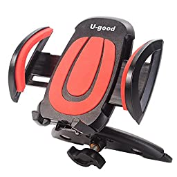 Car Mount,U-good Universal 360° Swivel CD Slot Car Mount Holder Cradle w/ Quick Release Button for iPhone 6s Plus 6s 5s 5c,Samsung Galaxy S7 Edge S6 S5 Note 5 4,LG Nexus HTC Motorola Sony,GPS and More