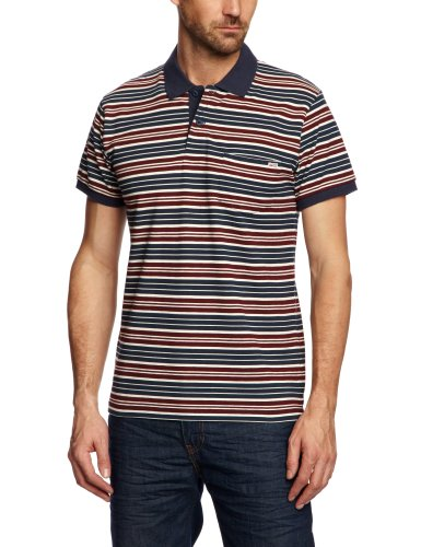 Jack and Jones Vintage Rory Stripe 1-2-3 13 Polo Men's T-Shirt Burgundy X-Large