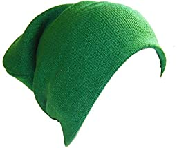 Slouchy Beanie Slouch Skull Hat Ski Hat Snowboard Hat Ribbed Beanie,One Size,Green