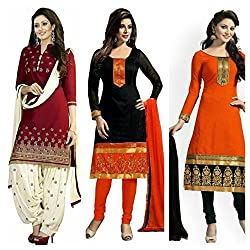 Maxthon Fashion Women's Printed Unstitched Regular Wear Salwar Suit Dress Material (Combo pack of 3)(Max_Combo_7015)(Max_3002_Maroon)(Max_3004_Black)(Max_3005_Orange)