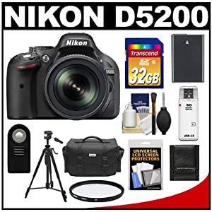 Nikon D5200 Digital SLR Camera & 18-105mm VR DX AF-S Zoom Lens (Black) with 32GB Card + Battery + Case + Filter + Remote + Tripod + Accessory Kit