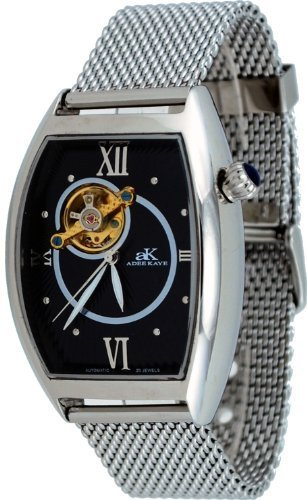 Adee Kaye #AK6473-M Men's Stainless Steel Mesh Band Open Heart Skeleton Automatic Watch