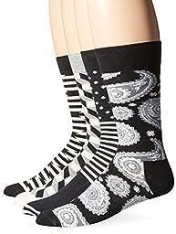 Happy Socks Men\'s Combed Cotton Socks Gift Box, Black/White Assorted, 10-13 (Pack of 4)