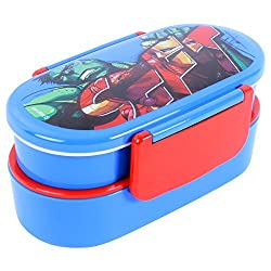 Marvel Avenger Plastic Lunch Box Set, 650ml, 3-Pieces, Blue/Red