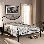 Baxton Studio Alanna Queen Size Chic Metal Platform Bed with Beige Tufted Headboard
