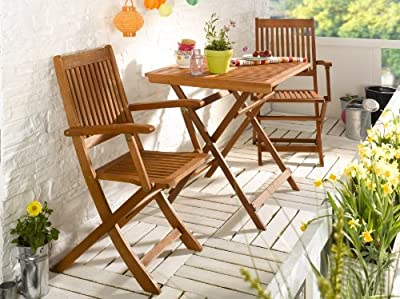 Patio Set Bistro FSC - Quality Garden furniture - 2x folding chair + 1 table 70x70cm