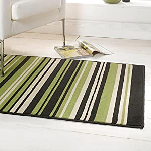 Flair Rugs Element Canterbury Striped Rug, Green/Black, 120 x 160 Cm from Flair Rugs