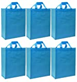 Reusable Gift Bags, Large Tall, Aqua Blue 6 Pack