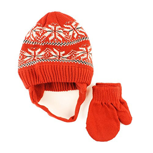 Winter 2pc Boys Newborn 6months Knit Beanie Earflap Hat Mitten