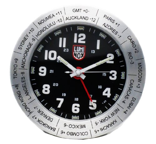 Luminox World Time Travel Alarm Clock LWAC.ST Stainless Steel with Black Face