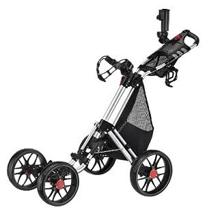 CaddyTek Caddy Cruiser One-Click Folding 4 Wheel Golf Cart, Silver