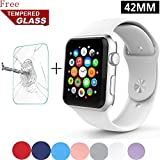 Apple Wtach Band GreenElec Free Tempered Glass Soft Silicone Replacement Sport Strap IWatch Band For Apple Watch...