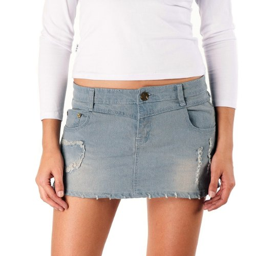 g s low rise distressed denim mini skirt