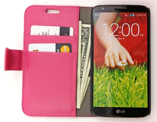High Quality Vegan Leather Folio Wallet Case With Magnetic Enclosure And Kickstand For Lg G2 D800 / Vs980 / D801 / Ls980 / D803 - Pink