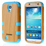 Meaci® Samsung Galaxy S4 I9500 Case Hard Soft Wood-plastic Composite&silicone Combo Hybrid Defender Bumper (wood&blue)