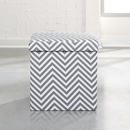 Soft Modern Ottoman Gray and White  Chevron