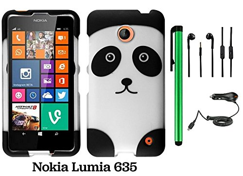 Nokia Lumia 635 (Us Carrier: T-Mobile, Metropcs, And At&T) Premium Pretty Design Protector Cover Case + Car Charger + 3.5Mm Stereo Earphones + 1 Of New Assorted Color Metal Stylus Touch Screen Pen (Black Silver Panda Bear)