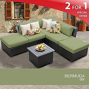 Bermuda 6 Piece Outdoor Wicker Patio Furniture Set 06f by TKC