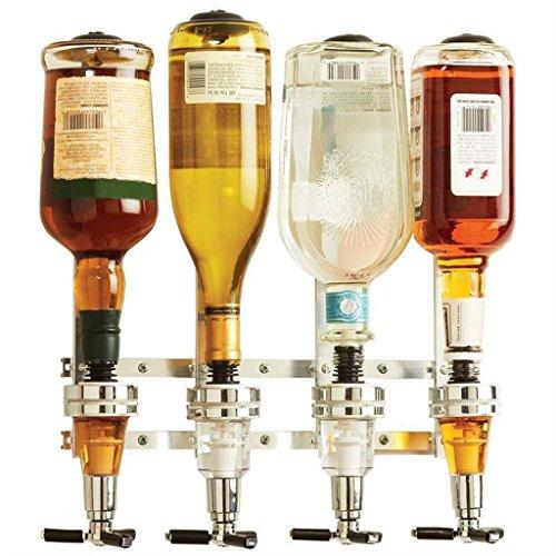 Excelvan discount duty free Excelvan Bar Butler 4 Bottle Optic Drink Dispenser Stand Wall Bracket Wine Dispenser Solo Optic Spirit Drinkware Set