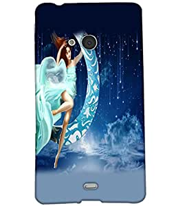 Fuson Moon Girl Back Case Cover for NOKIA MICROSOFT LUMIA N540 - D4014