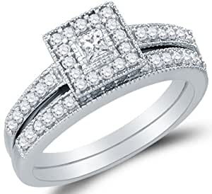 Bridal Engagement Ring And Matching Wedding Band Two 2 Ring Set