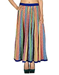 Beautiful Casual Skirt Cotton Multicolor Striped Patchwork For Women By Rajrang
