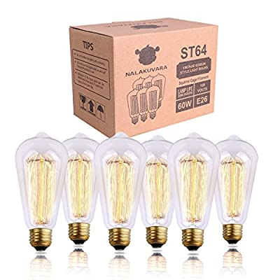 Edison Bulb, NALAKUVARA 60w Filament Long Life Vintage Antique Style Incandescent Clear Glass Light Squirrel Cage Design E26 E27 Medium Base Lamp (6 Pack) for Chandeliers Wall Sconces Pendant Lighting