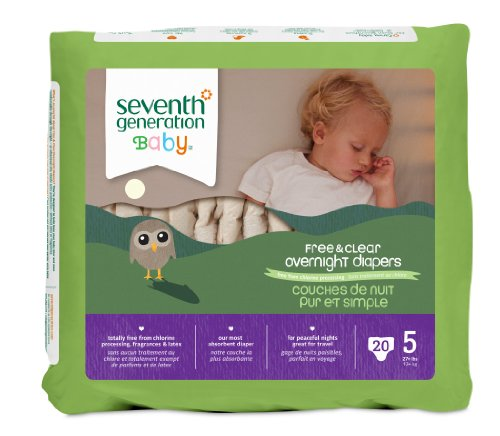 Seventh Generation Baby Free & Clear Overnight Diapers, Stage 5, 20 Count (Pack of 4) (Chlorine Free Diapers 5 compare prices)