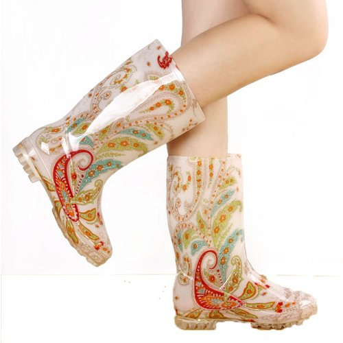 FunShoes Colorful Transparent Dancing Womens Rain Boots SAR-HA043