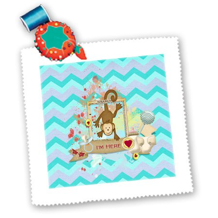 Beverly Turner Baby Stuff Design - Monkey Hanging, Im Here, With Bottle, Rattle, Diaper, Chevron Design - Quilt Squares - 14X14 Inch Quilt Square - Qs_192566_5 front-235028