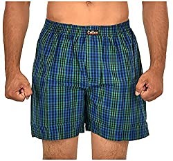 CALICO Men's Cotton Boxers (CAL_11_M, Green and Blue, M)