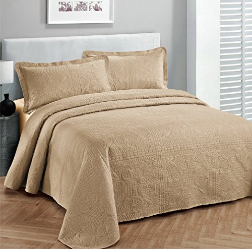 Sale!! Fancy Collection 3pc Luxury Bedspread Coverlet Embossed Bed Cover Solid Taupe New Over Size 1...