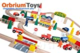 100-Piece Orbrium Toys Triple-Loop Wooden Train Set Fits Thomas Brio Chuggington Children, Kids, Game