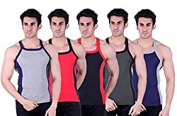 Zimfit Superb Gym Vests - Pack of 5 (GRY_RED_BLK_GRN_BLU_95)