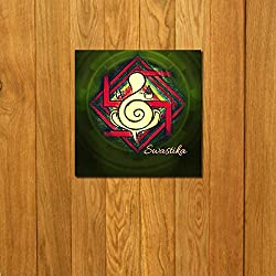 999Store doorhanging swastik multicolour printed wooden framed door sticker (4 x 4 inches)