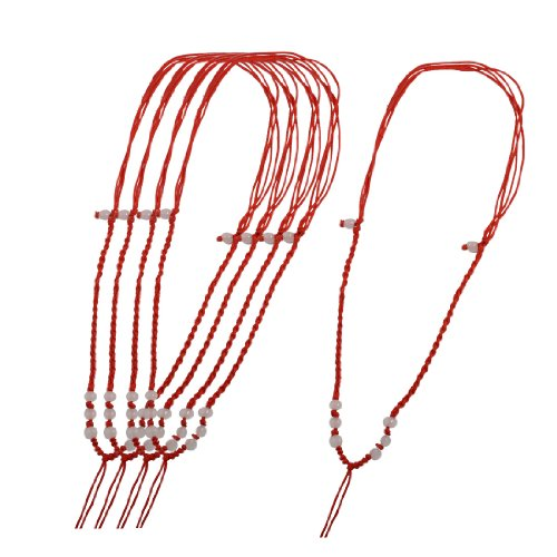 Rosallini 5 Pcs Red Nylon Handmade Twisted Strings Beaded Necklace Cords