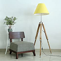 Matka Silk Yellow Fabric Shade Natural Color Wooden Tripod Floor Lamp with bulb and free jute mobile pouch