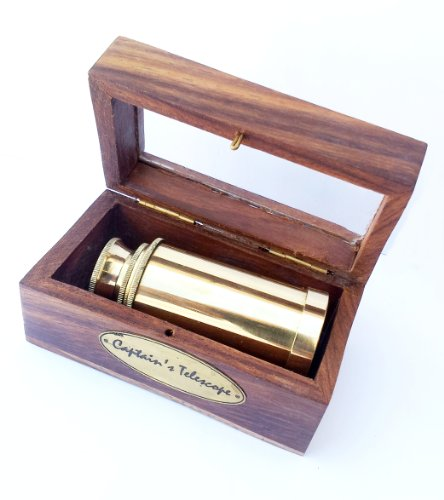 "6"" Handheld Full Brass Telescope With Wooden Box - Pirate Navigation Buy A Telescope"