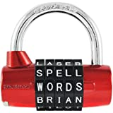 Wordlock PL-002-RD 5-Dial Combination Padlock, Red