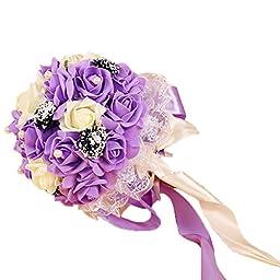 KAY&LAYLA Artifical Bouquet Wedding Bouquets for Wedding Decoration Purple