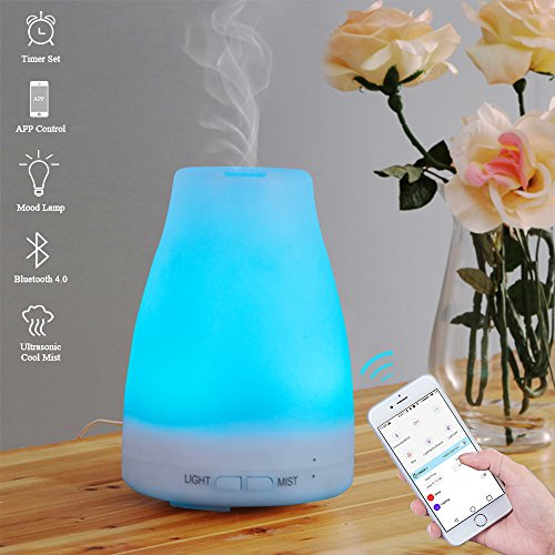 E-Diffuser Smart Aroma Essential Oil Diffuser- Bluetooth App Control Ultrasonic Cool Mist Humidifier with Timer Function and 7 Color LED Lights Changing, Perfect for Home Office Baby Room Yoga SPA (Timer For Diffuser compare prices)