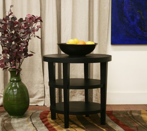 Cheap End Table with Two Lower Shelves in Black Finish (VF_WI-CT-112-black)