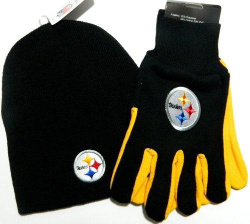 Pittsburgh Steelers NFL Licensed Black Knit Beanie and Utility Glove Set Hat Gift at Amazon.com