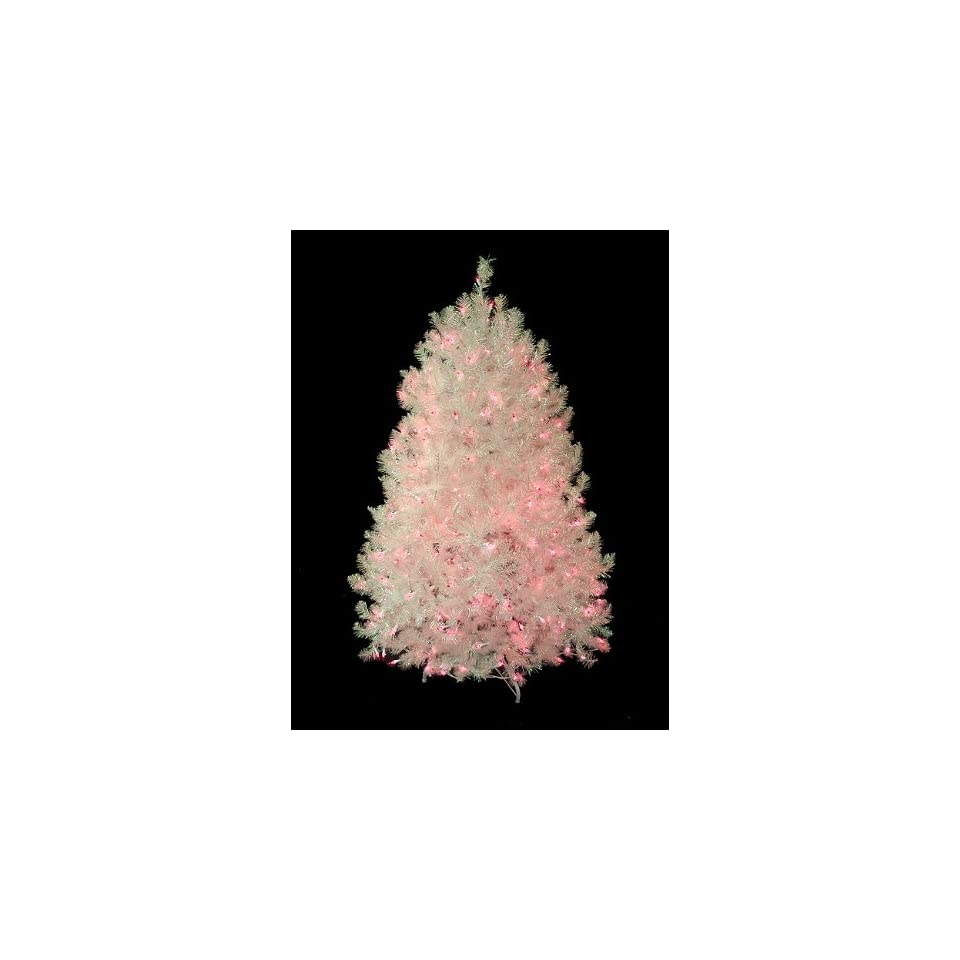 4.5 Pre Lit Shimmering White Iridescent Christmas Tree   Pink Lights