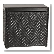 Athena Bench Black Wicker Basket - Hinged Vinyl Lid
